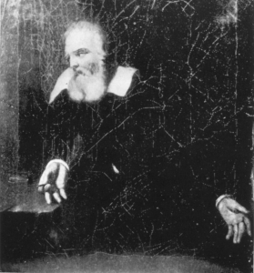 Galileo Galilei gazing at the wall of his prison cell