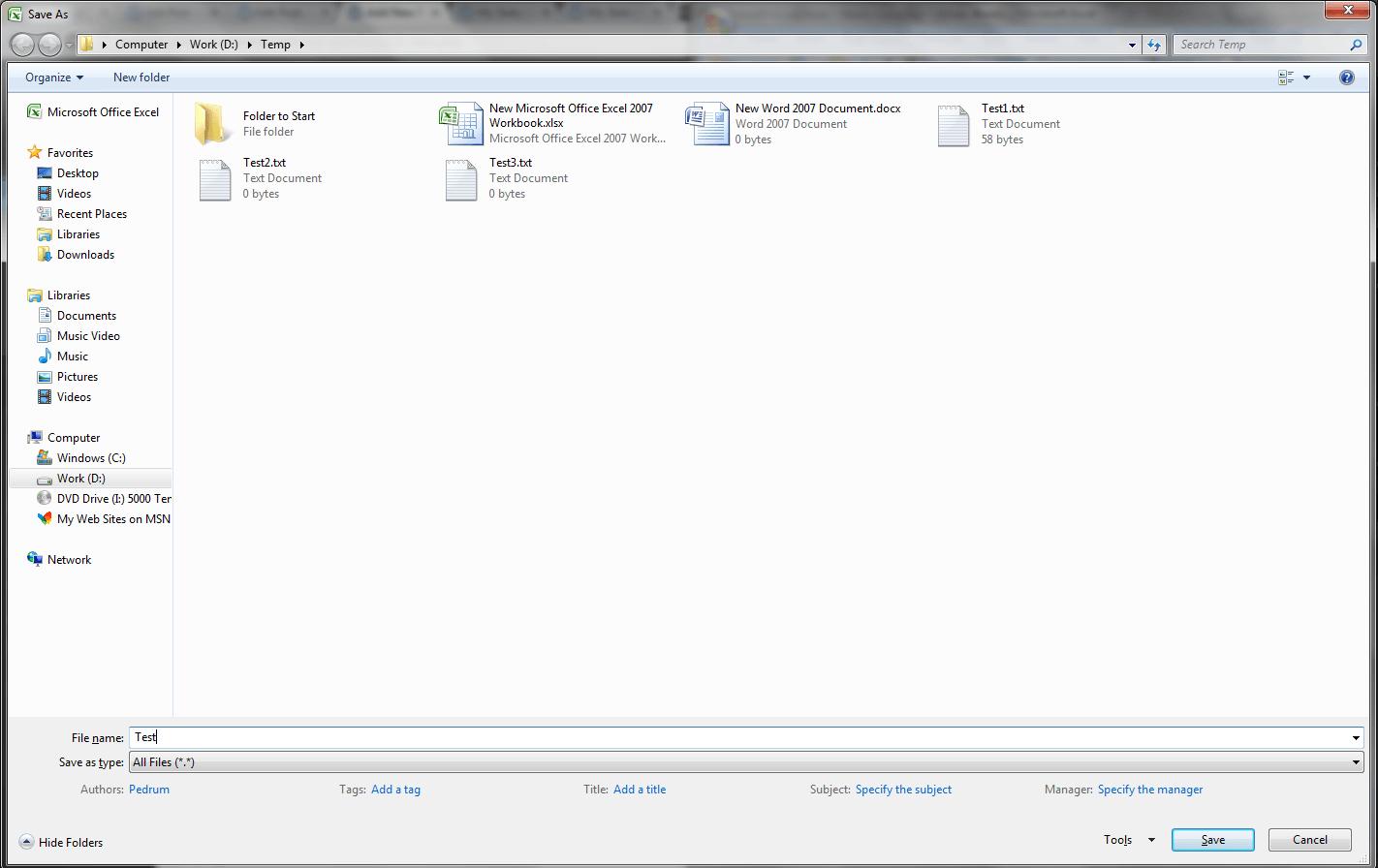 Excel Getsaveasfilename