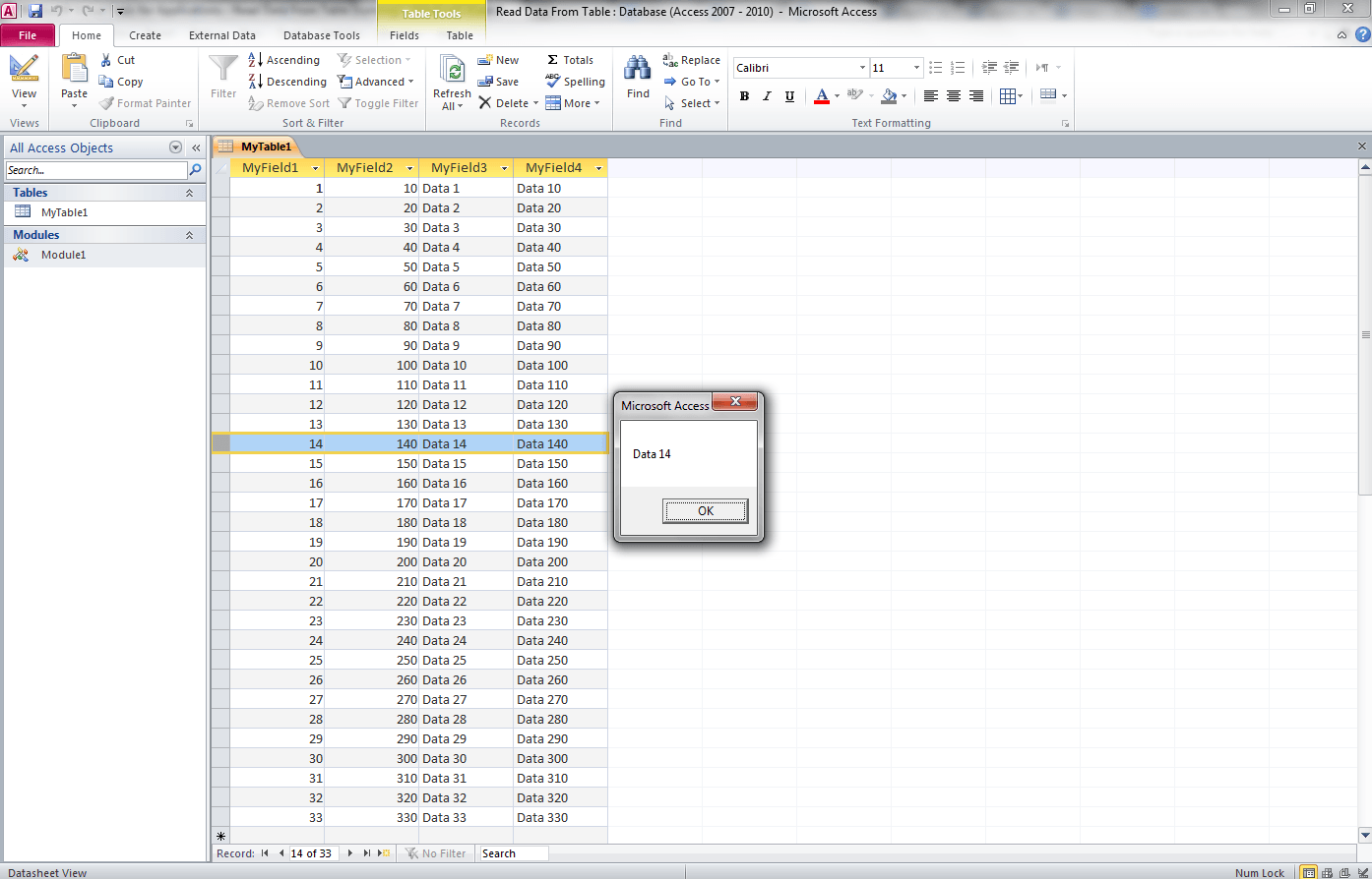 Read Data From Table Access Vba