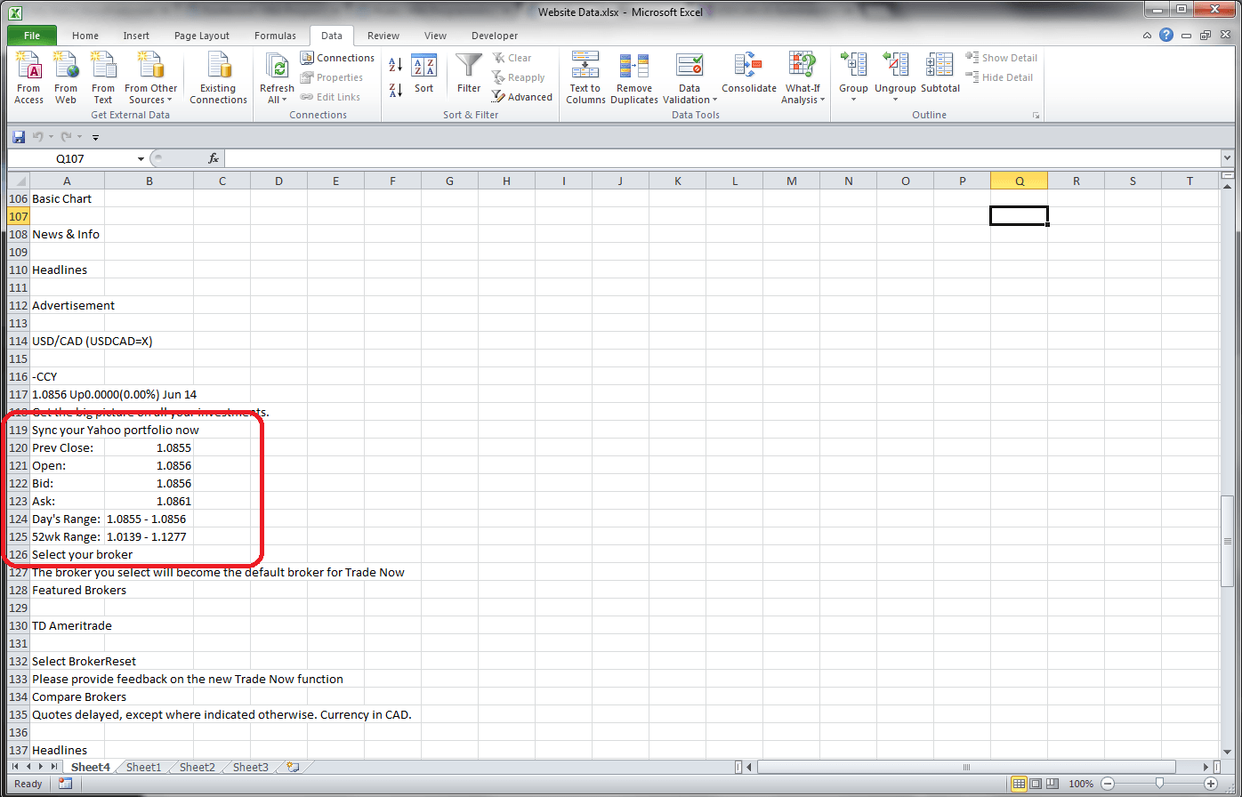 Excel Getting Data From The Web