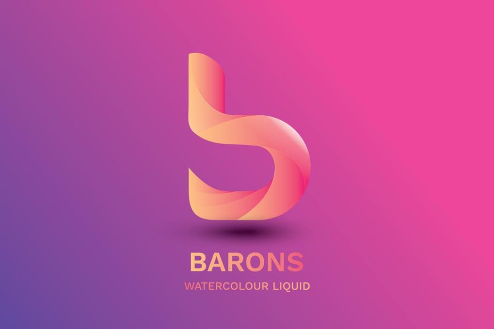 Letter B - Watercolour Liquid 2