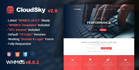 CloudSky - Multipurpose Domain, Hosting and WHMCS Template
