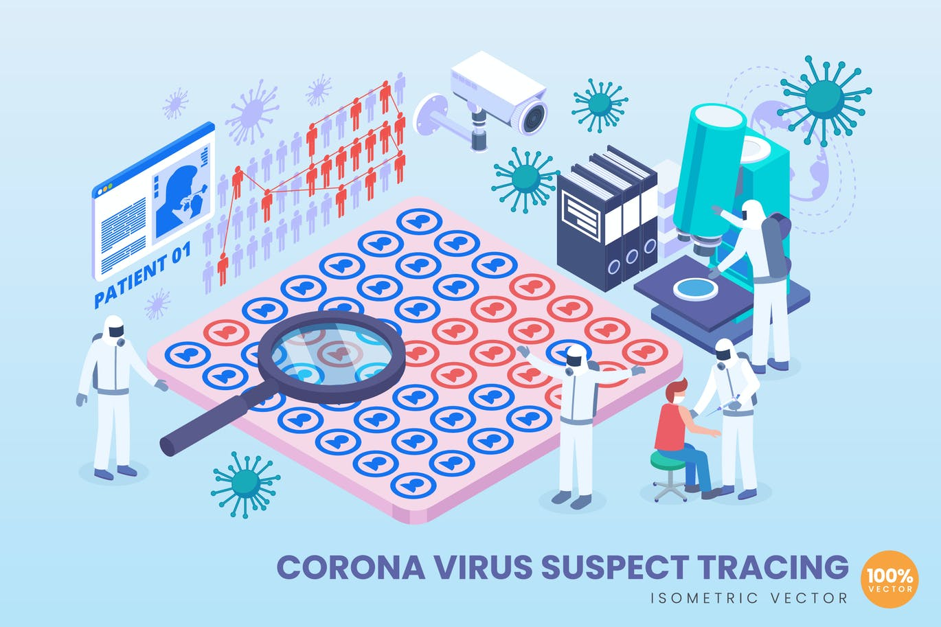 Isometric Corona Virus Suspect Tracking Vector