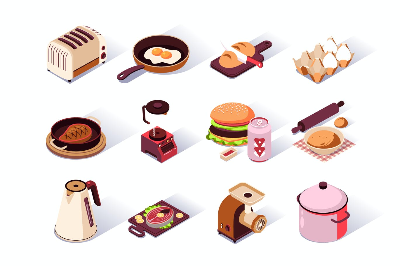Kitchen Utensils Isometric Icons Set