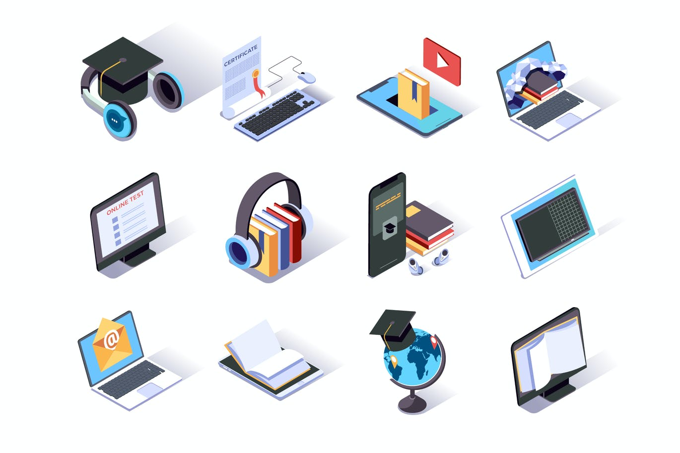 Online Education Isometric Icons Set