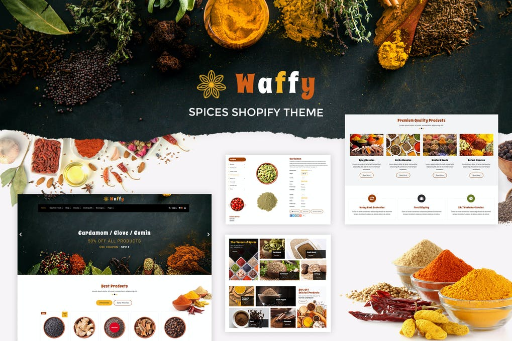 Waffy Spices, Dry Fruits Store Shopify Theme