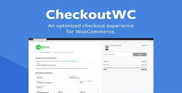 an optimized checkout template for WooCommerce
