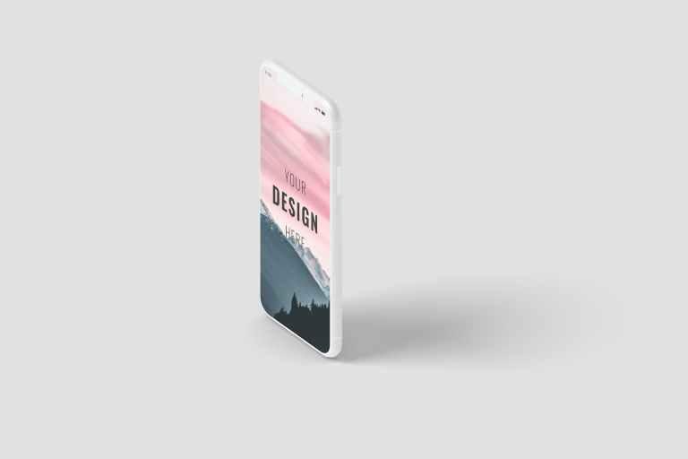Phone Screen Mockup Right Angle View