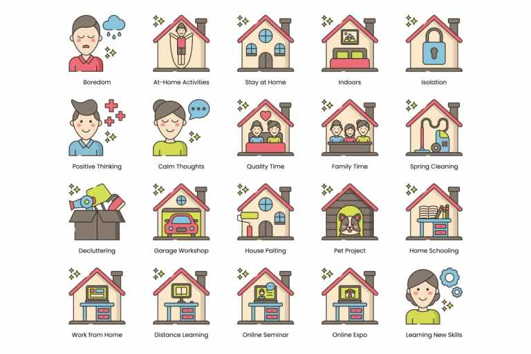 80 Stay at Home Line Icons