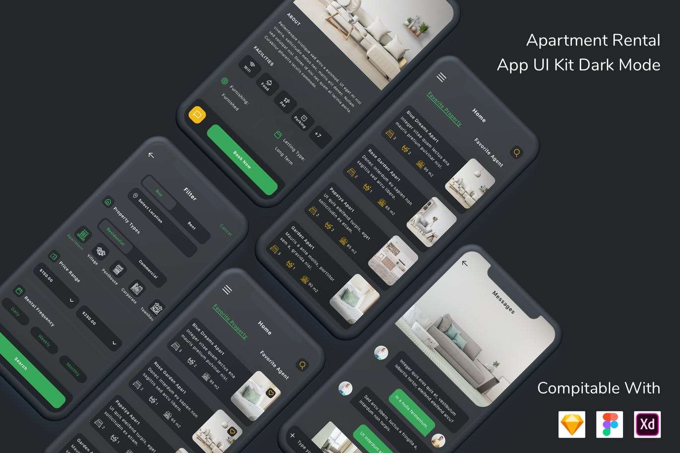 Apartment Rental App UI Kit Dark Mode