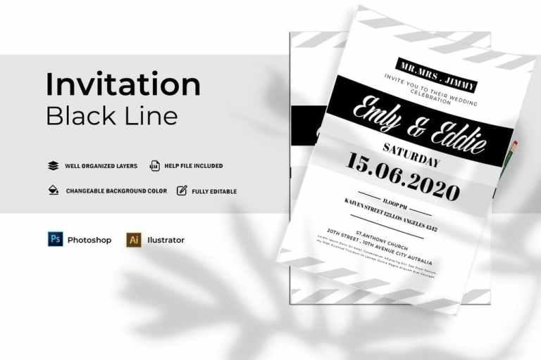 Black Line Wedding   Invitation
