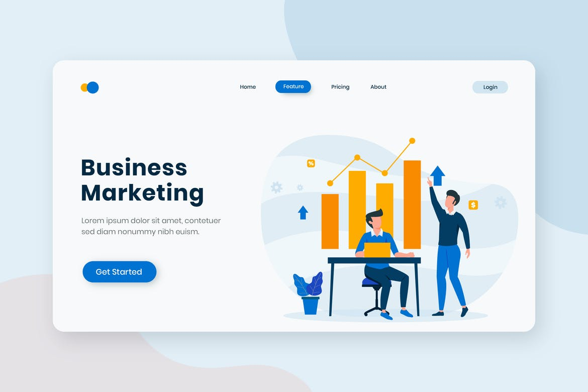 Business Marketing Flat Concept Landing Page
