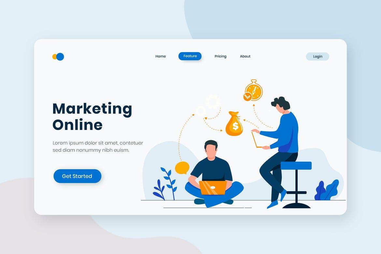Business Marketing Online Flat Concept Landing