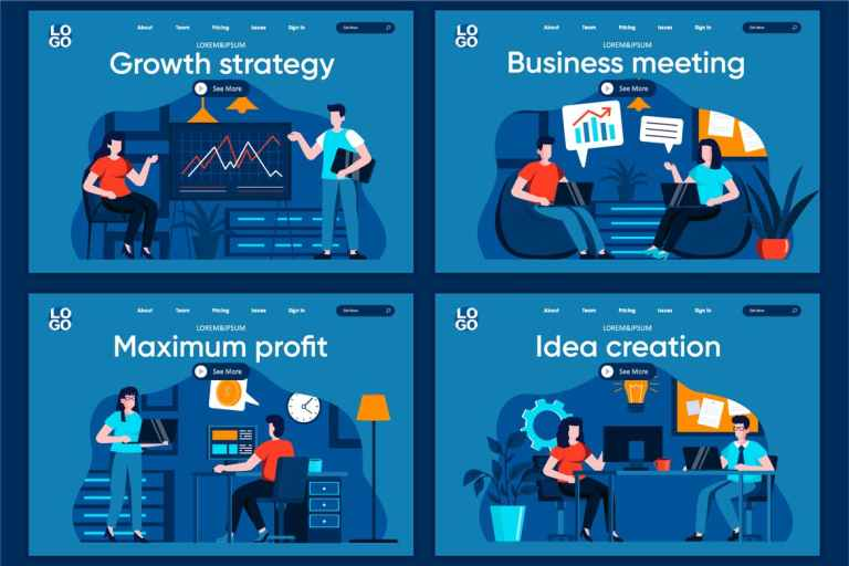 Business Meeting Flat Concept Landing Page