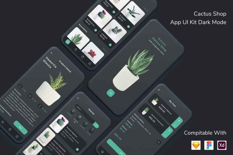 Cactus Shop App UI Kit Dark Mode