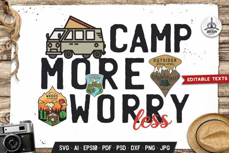 Camp More Worry Less Hike Badge Vector Retro Logo