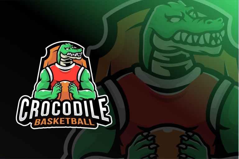 Crocodile Basketball Sport Logo Template