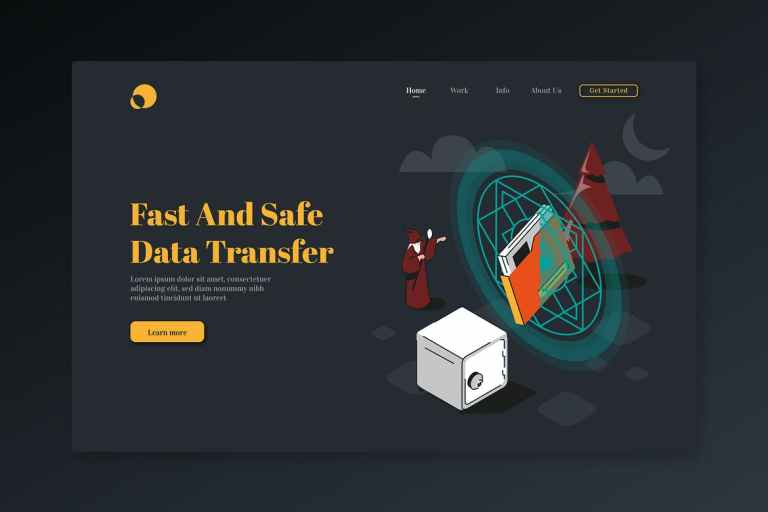 Fast and Safe Data Transfer-Isometric landing Page