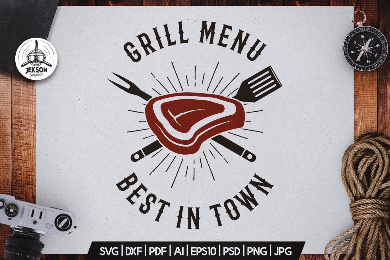 Grill Menu BBQ Logo Design Retro Vector Badge SVG