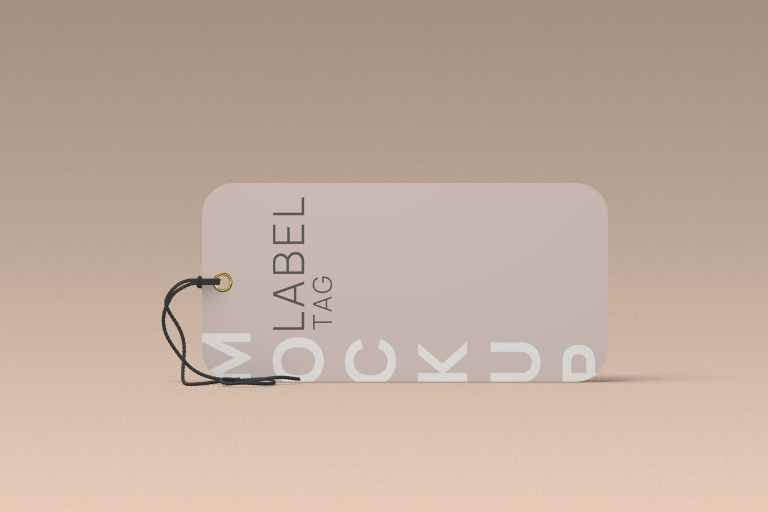 Laydown Clothes Label Tag Mockup Front Angle View