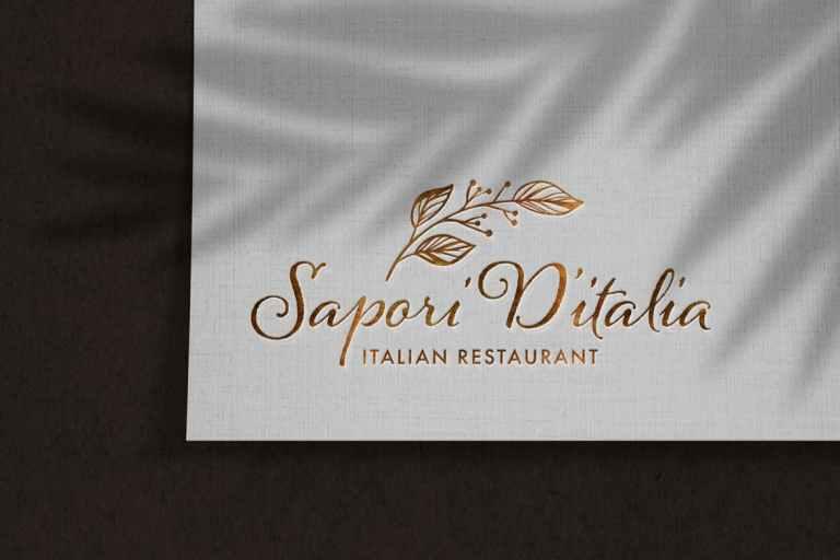 Luxury Debossed Logo Mockup on Linen Paper