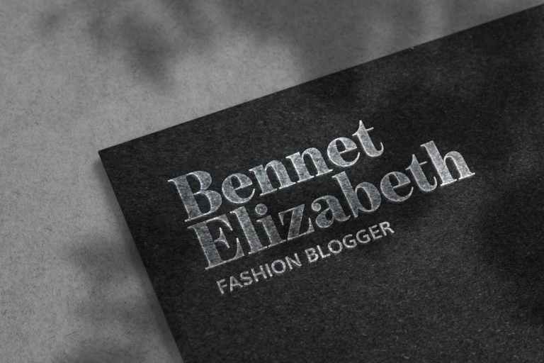 Luxury Silver Logo Mockup on Black Paper Texture