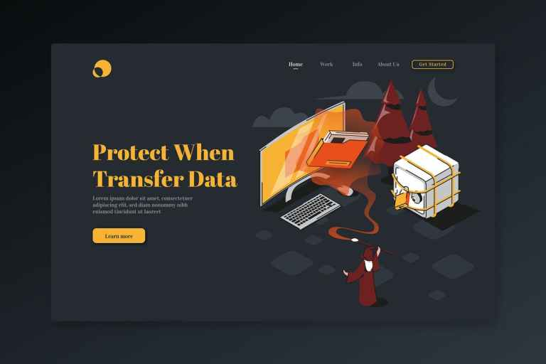 Protect When Transfer Data-Isometric Landing Page