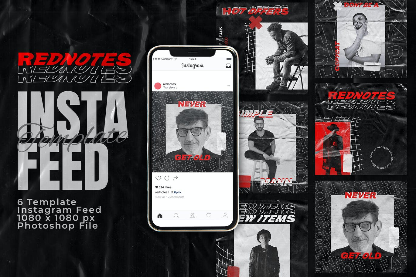Rednotes Instagram Feed Post Template