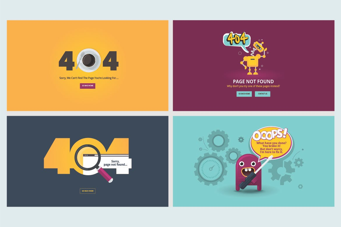 Set of flat designs for 404 error page