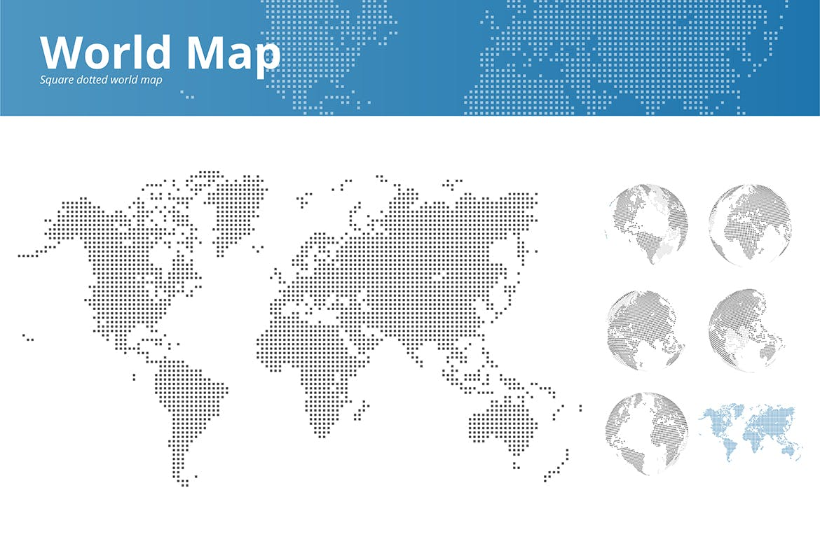Square dotted world map and earth globes