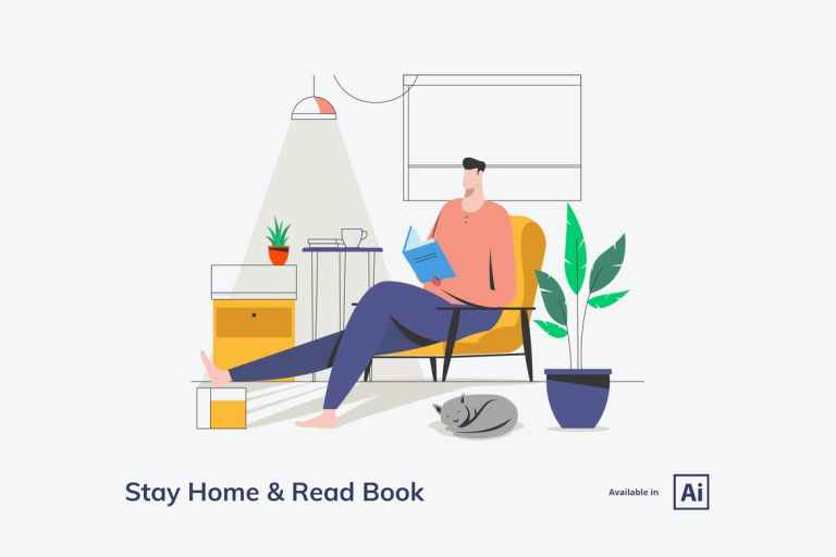 Stay Home and Read Book Illustration