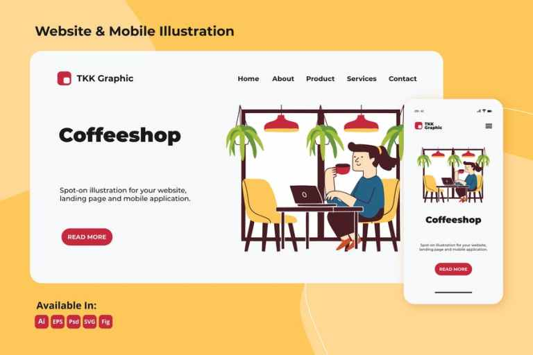 Working in coffee shop web and mobile design