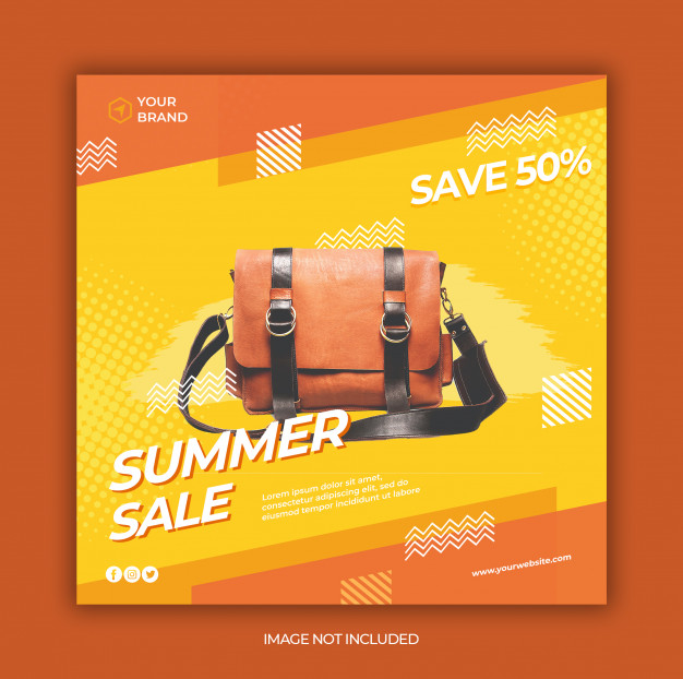 Modern summer sale social media and square web banner template
