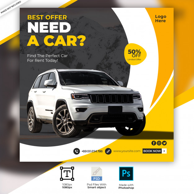 Rent car social media post banner template Premium Psd