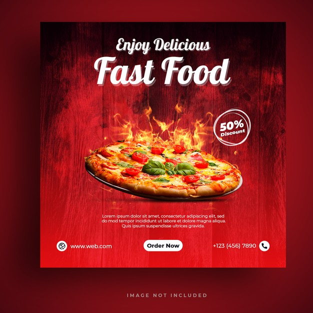 Food menu and restaurant pizza social media banner template Premium Psd