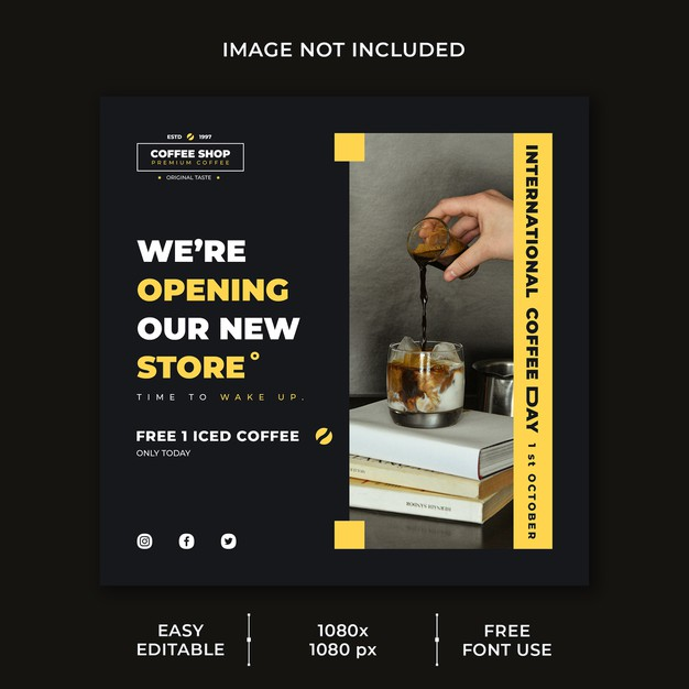 International coffee day social media post template Premium Psd