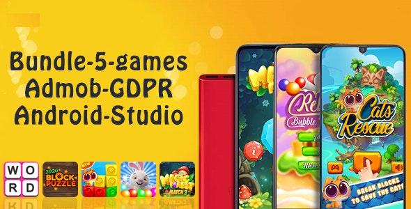 Bundle 1, 5 Games (Admob + GDPR + Android Studio)