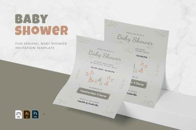 Fun Minimal - Baby Shower Invitation