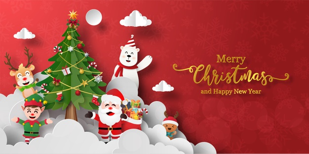 Christmas banner of santa claus and friends with christmas tree Premium Vector