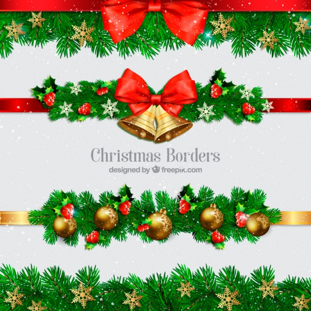 Collection of christmas borders with balls and bells Premium Vector