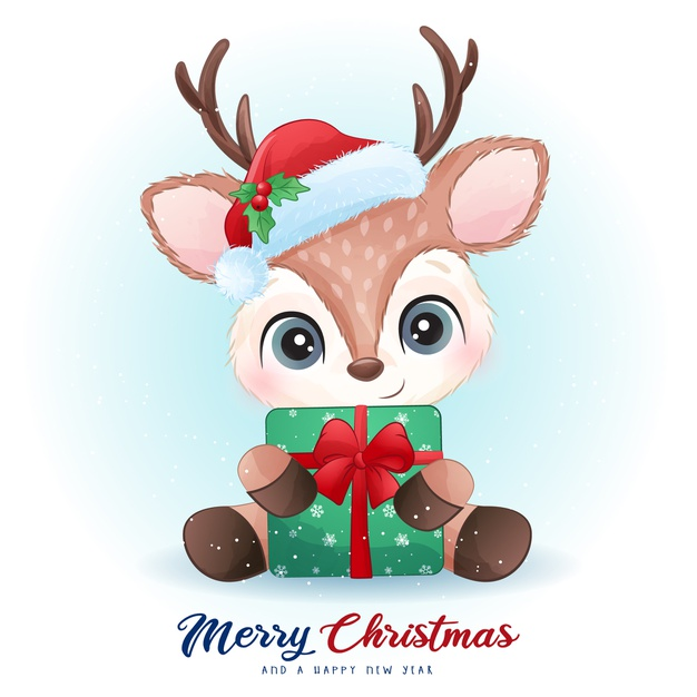 Cute deer for christmas day with watercolor illustration Premium Vector