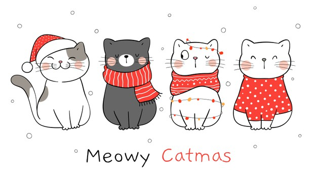 Draw banner cat for winter and christmas. Premium Vector