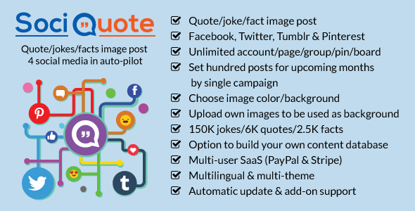 SociQuote - Quotes-Jokes-Facts Image Post in Auto-Pilot (Facebook,Twitter,Tumblr,Pinterest) - Social Networking