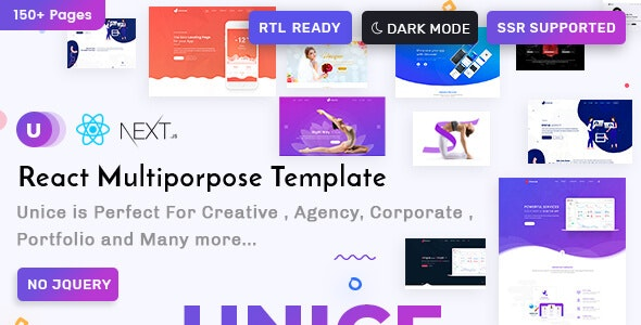 Unice React Next Creative Agency and Portfolio Landing Page Templates