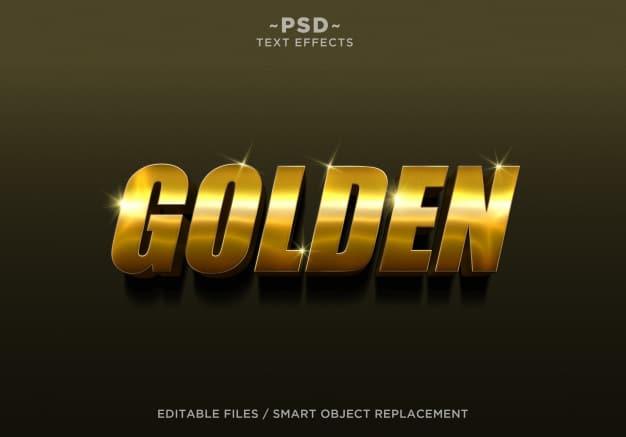 3d golden style 4 effect editable text Premium Psd