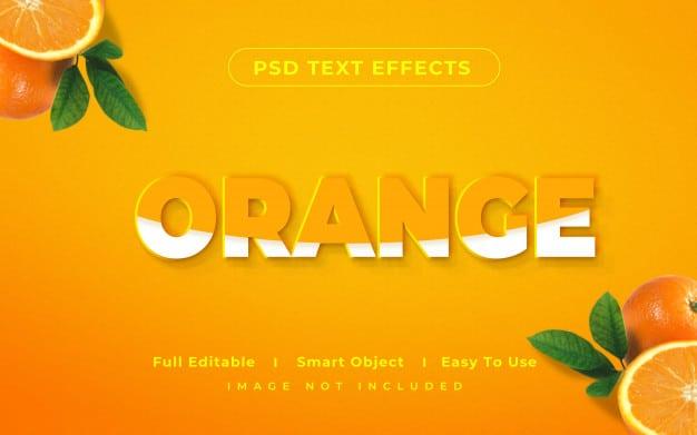 3d mockup orange text style effect Premium Psd