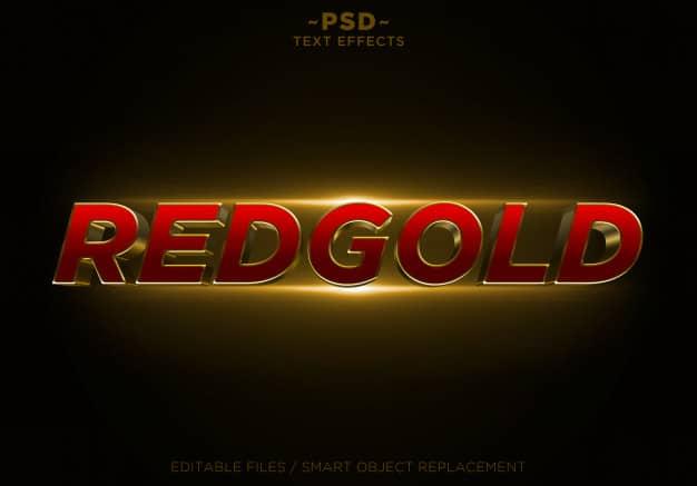 3d redgold glitter golden effects editable text Premium Psd