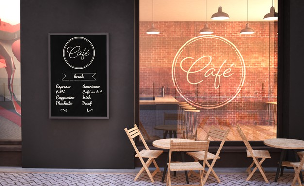 Cafe facade mockup with glass wall and poster 3d rendering Premium Psd