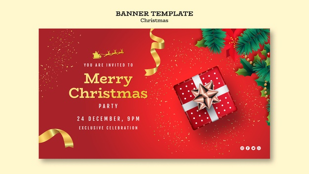 Christmas party banner template Free Psd