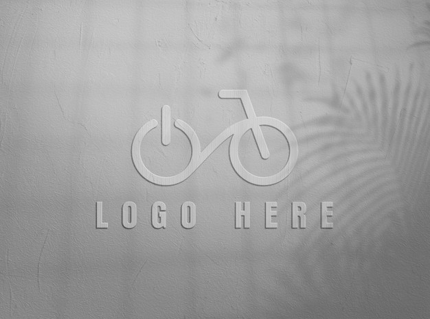 Close up on logo mockup design in wall Premium Psd